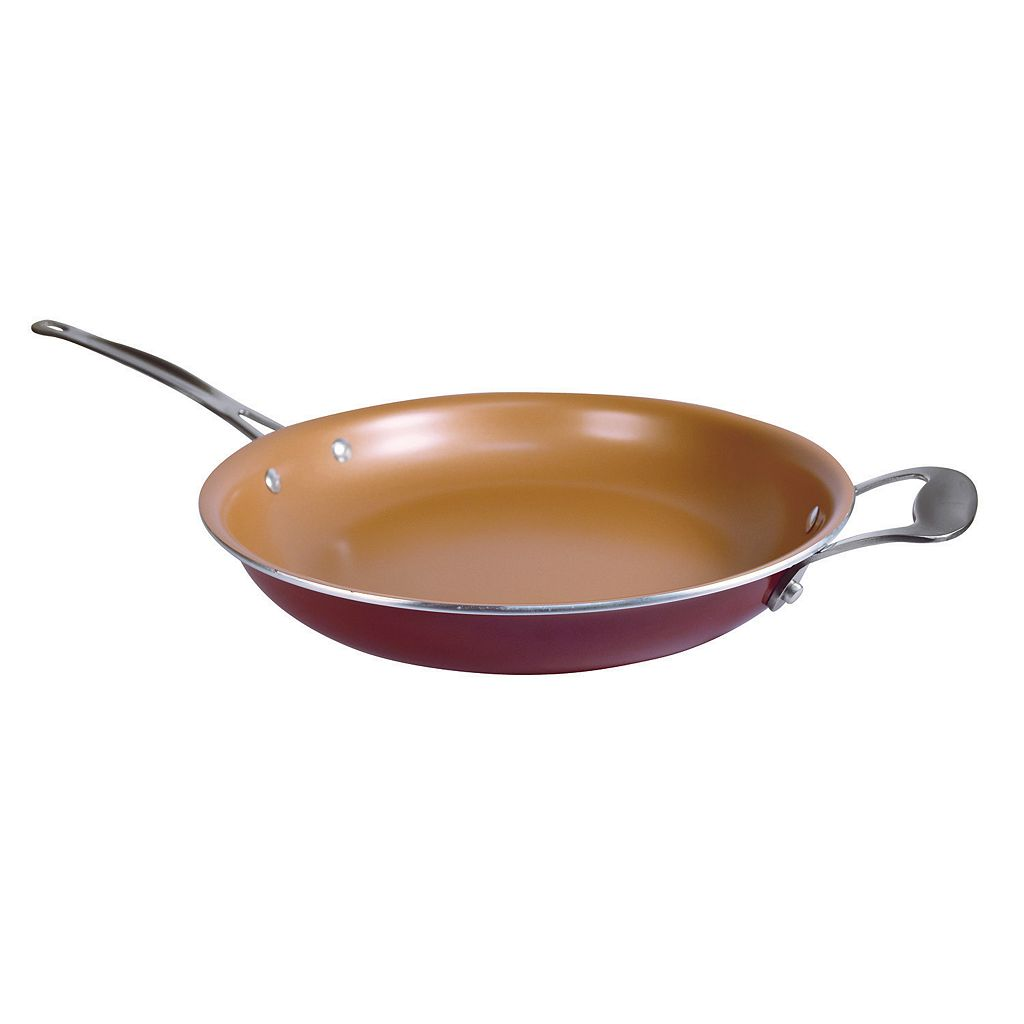 As Seen on TV Red Copper 12-in. Ceramic Copper-Infused Frypan