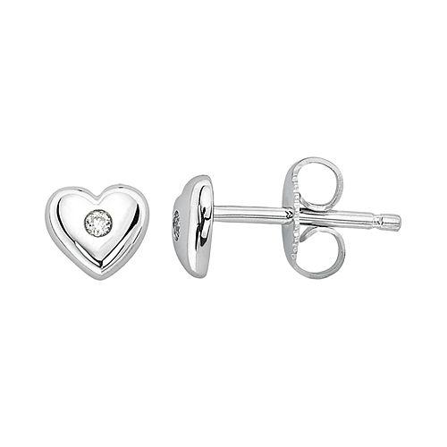 Little Diva Diamonds Kids' Sterling Silver Diamond Accent Heart Stud Earrings