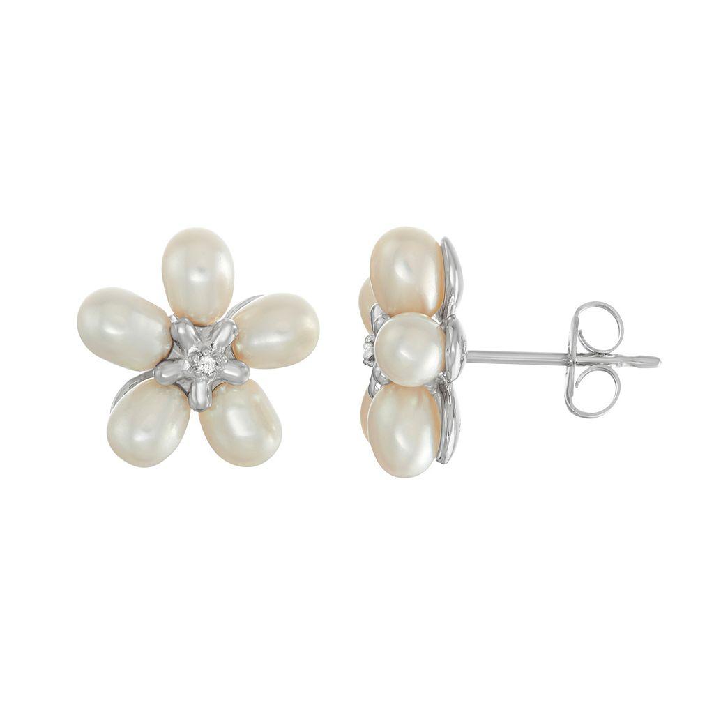 Sterling Silver Freshwater Cultured Pearl Flower Stud Earrings