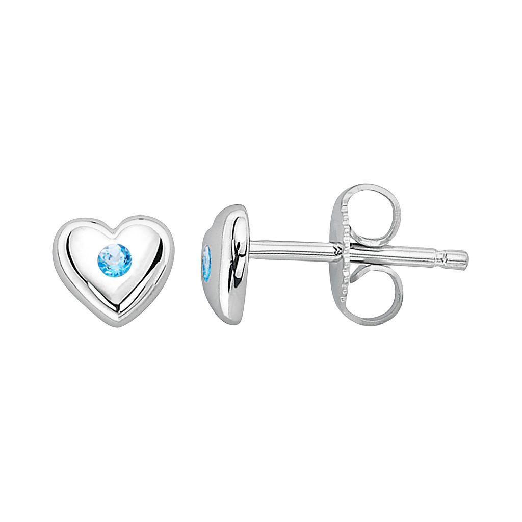 Little Diva Diamonds Kids' Sterling Silver Blue Topaz Heart Stud Earrings