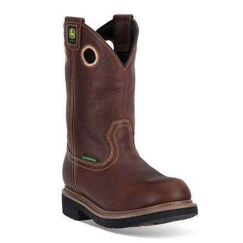 John Deere Men's Waterproof Steel-Toe Western Work Boots