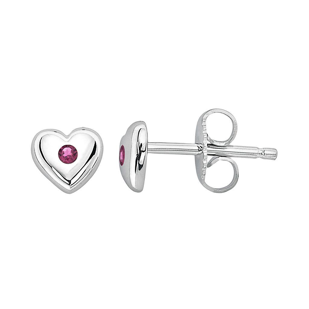 Little Diva Diamonds Kids' Sterling Silver Lab-Created Alexandrite Heart Stud Earrings