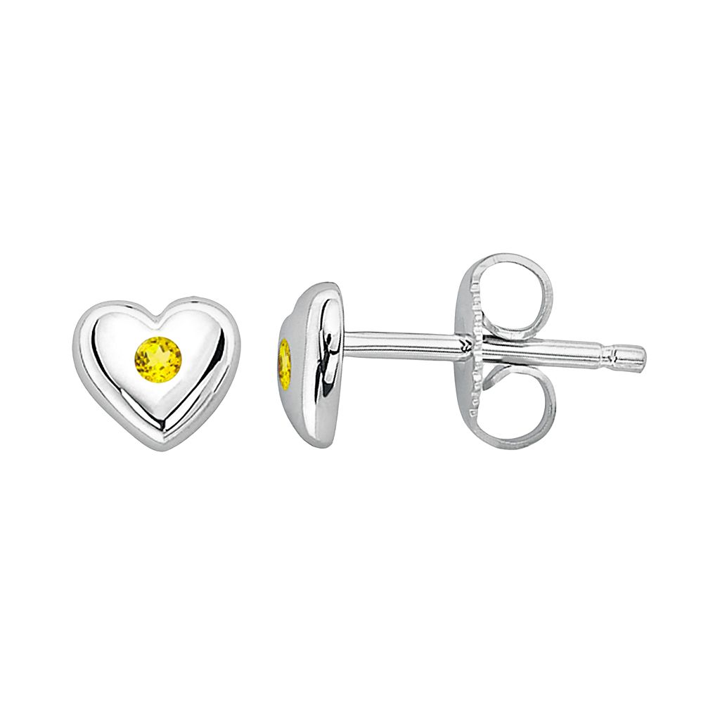 Little Diva Diamonds Kids' Sterling Silver Citrine Heart Stud Earrings