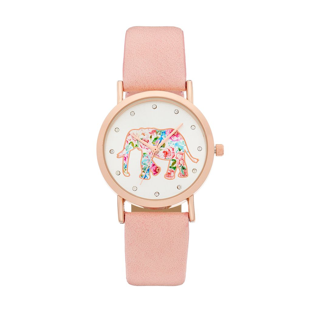 Women's Crystal Floral Elephant Watch