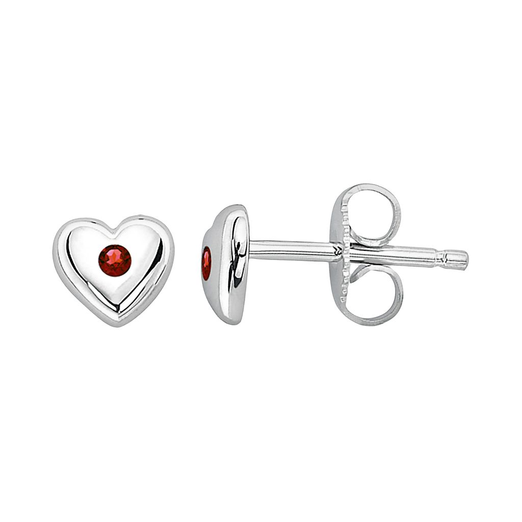 Little Diva Diamonds Kids' Sterling Silver Garnet Heart Stud Earrings