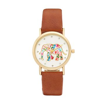 Women's Crystal Floral Elephant Watch