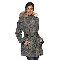 Women's Braetan Hooded Faux-Fur Wool Tie Belt Coat