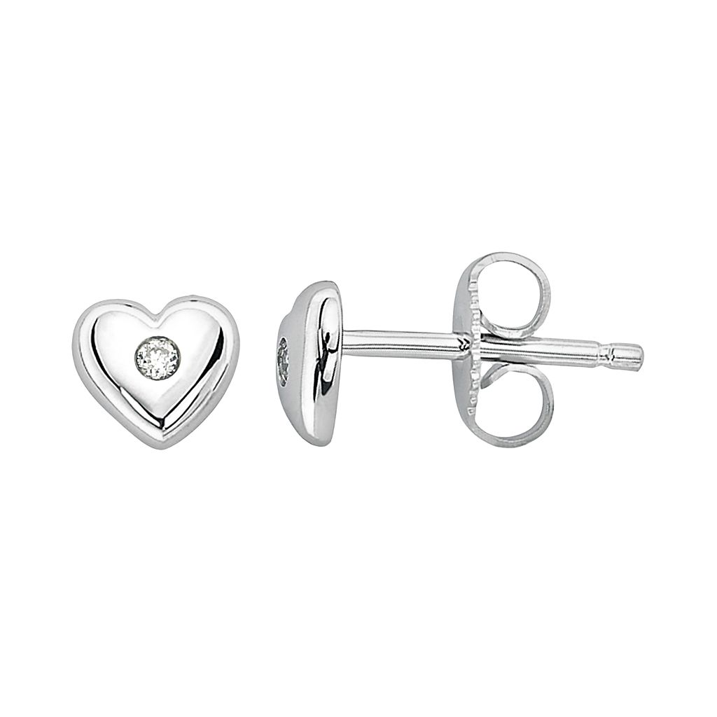 Little Diva Diamonds Kids' Sterling Silver White Sapphire Heart Stud Earrings