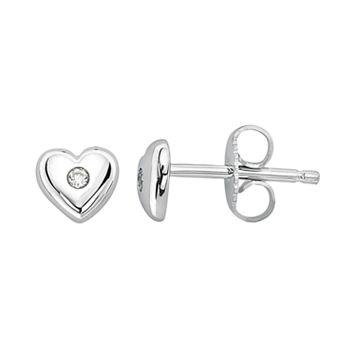 Little Diva Diamonds Kids' Sterling Silver White Sapphire Heart Stud Earrings