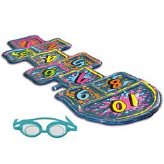 Kids Blue Wave 3D Action Hopscotch Sprinkler Mat & Goggles Set