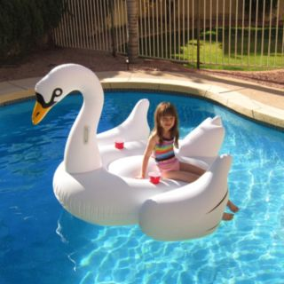 Blue Wave 72-Inch Elegant Giant Swan Inflatable Ride-On Pool Float