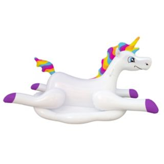 Blue Wave Cloud Rider Rainbow Unicorn Inflatable Ride-On Pool Float