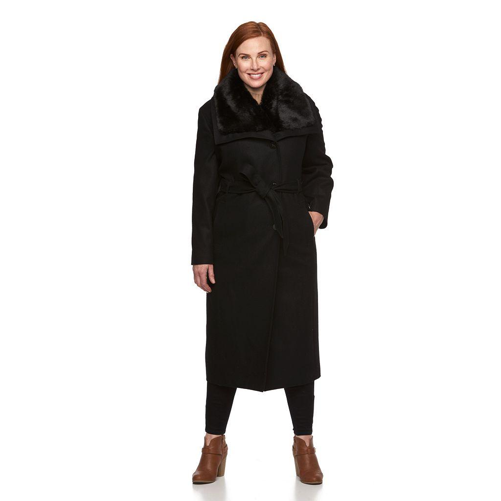 Plus Size Braetan Long Belted Wool Blend Coat
