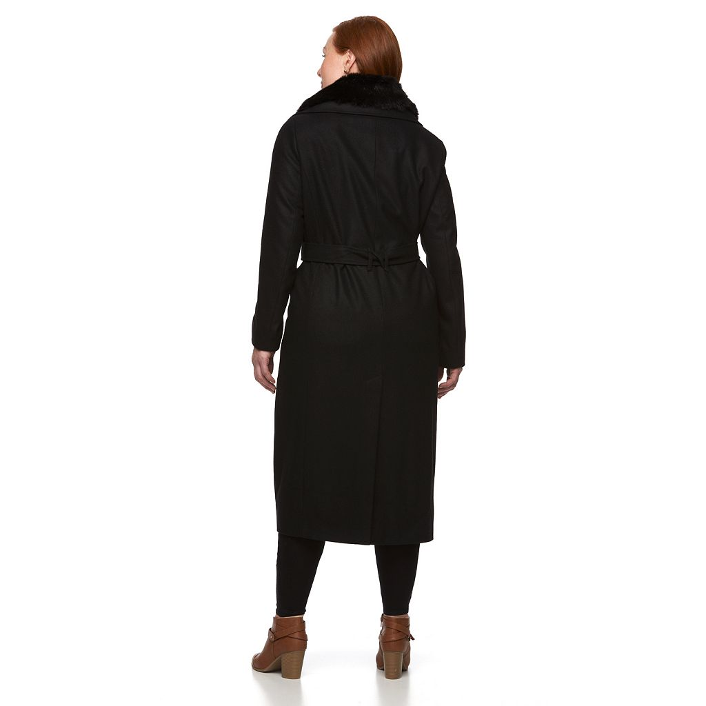 Plus Size Braetan Long Belted Wool Blend Coat