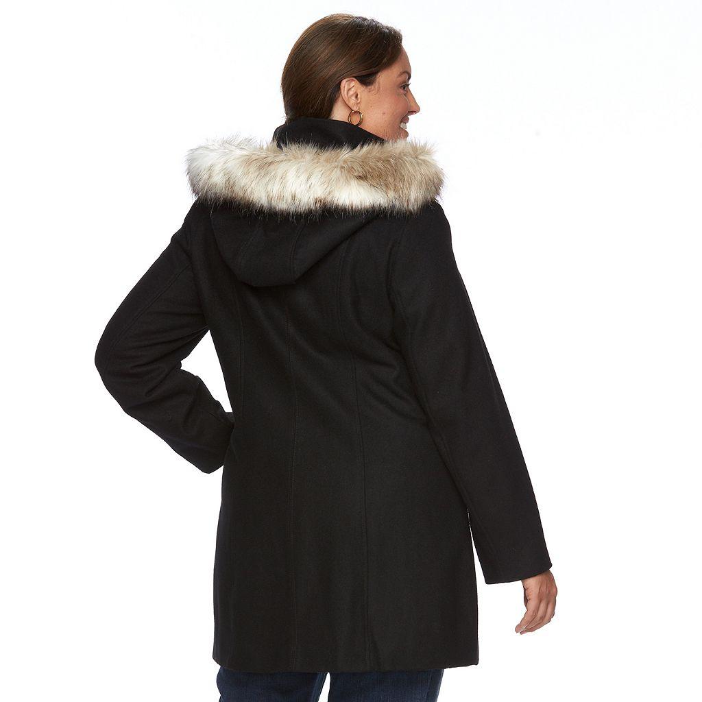 Plus Size Braetan Hooded Toggle Wool Fit & Flare Coat