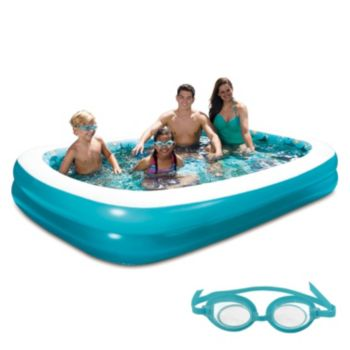Blue Wave 3D Inflatable Rectangular Family Pool