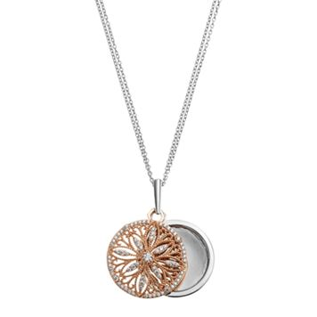 Two Tone Sterling Silver Cubic Zirconia Filigree Flower Locket