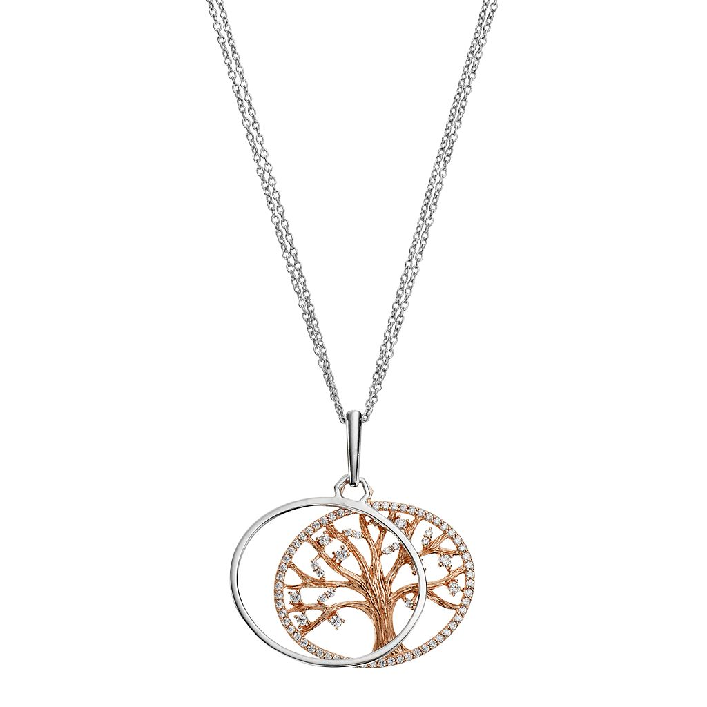Two Tone Sterling Silver Cubic Zirconia Family Tree Pendant