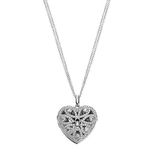 Sterling Silver Cubic Zirconia Filigree Heart Locket