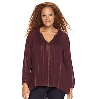 Plus Size Rock & Republic® Lurex Embellished Peasant Top