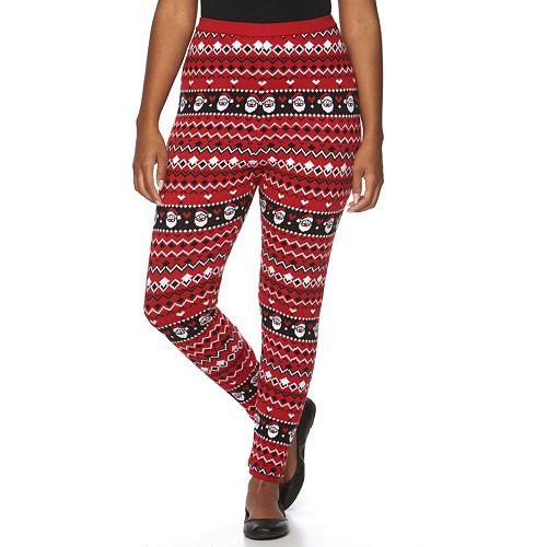 Plus Size US Sweaters Santa Fleece Leggings