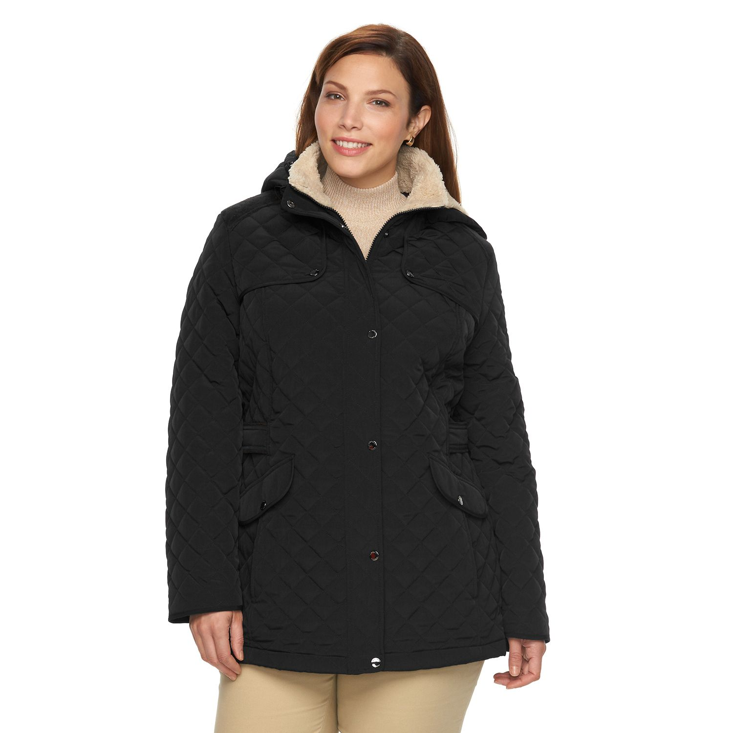 Plus Size Braetan Sherpa Hooded Quilted Jacket