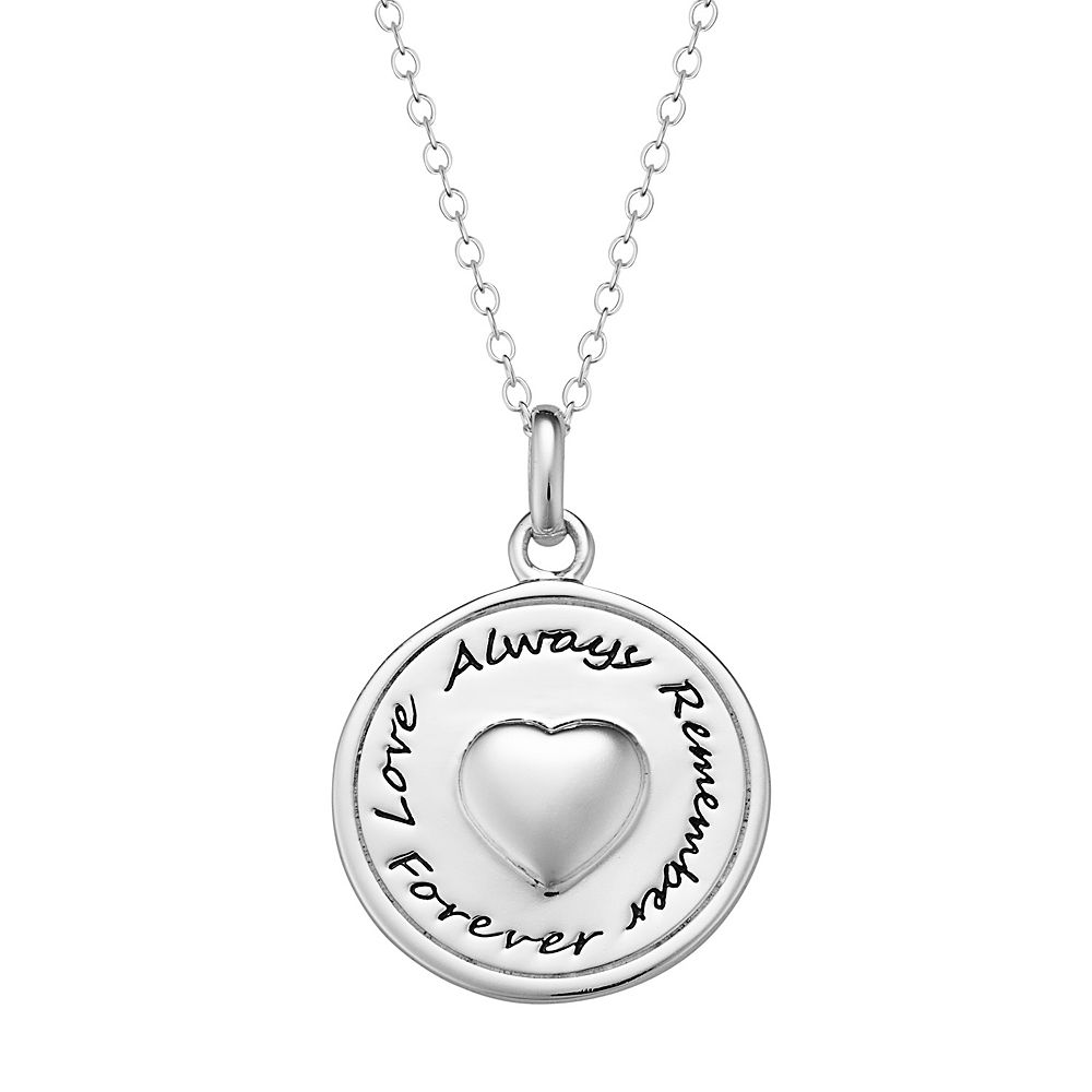 Sterling silver memorial disc pendant necklace mozeypictures Image collections