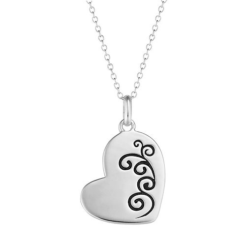 Sterling Silver Memorial Heart Pendant Necklace
