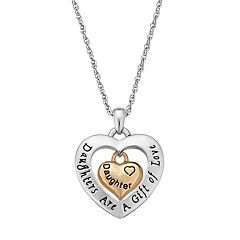 Two Tone 'Daughter' Heart Pendant Necklace