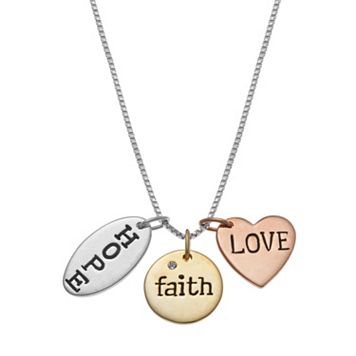 Tri-Tone Sterling Silver Hope, Faith & Love Charm Necklace