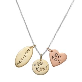Tri-Tone Sterling Silver Inspirational Charm Necklace