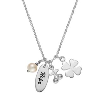 "Sterling Silver Freshwater Cultured Pearl ""Hope"" Charm Necklace"