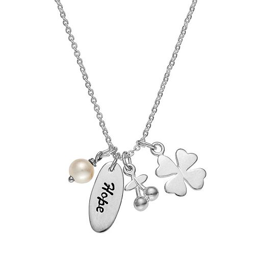 """Sterling Silver Freshwater Cultured Pearl """"Hope"""" Charm Necklace"""
