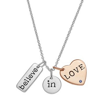 Two Tone Sterling Silver Believe in Love Charm Necklace