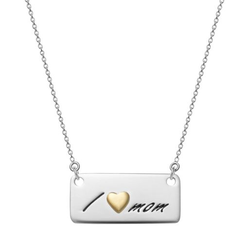 """Sterling Silver """"I Love Mom"""" Bar Necklace"""