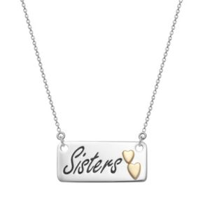 """Sterling Silver """"Sisters"""" Bar Necklace"""