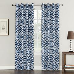 Sun Zero Taft Ikat Medallion Grommet Window Curtain