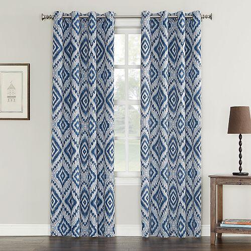 Sun Zero Taft Ikat Medallion Grommet Window Curtain
