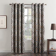 Sun Zero 1-Panel Taft Ikat Medallion Grommet Window Curtain