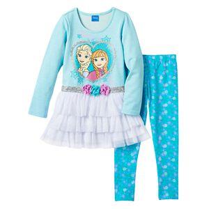 Disney's Frozen Anna & Elsa Girls 4-6x Glitter Tiered Tutu Dress & Snowflake Leggings Set