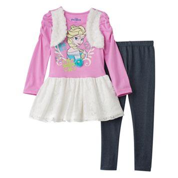 Disney's Frozen Elsa Girls 4-6x Faux-Fur Floral Lace Glitter Dress & Faux-Denim Knit Leggings Set