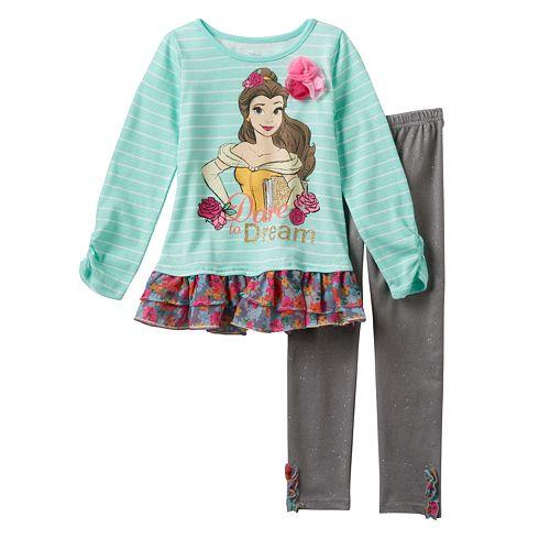 425b1ad9cec80 Disney Princess Belle Girls 4-6x Striped Floral Glitter Dress & Sparkle ...