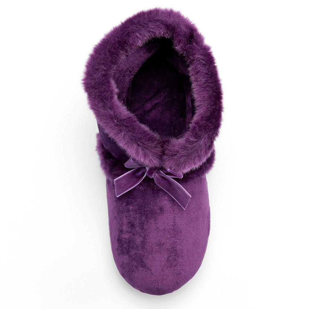 isotoner Women's Velour Bootie Slippers