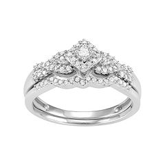 10k White Gold 1/4 Carat T.W. Diamond Tiered Halo Engagement Ring Set