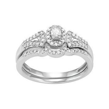 10k White Gold 1/4 Carat T.W. Diamond Halo Engagement Ring Set