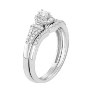10k White Gold 1/4 Carat T.W. Diamond Halo Engagement Ring Set