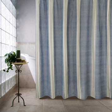 Chambray Twill Stripe Shower Curtain