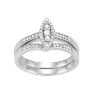 10k White Gold 1/4 Carat T.W. Diamond Marquise Engagement Ring Set