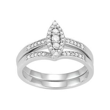 10k White Gold 1/4 Carat T.W. Diamond Marquise Engagement Ring Set