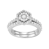 10k White Gold 1 Carat T.W. Diamond Tiered Halo Engagement Ring Set